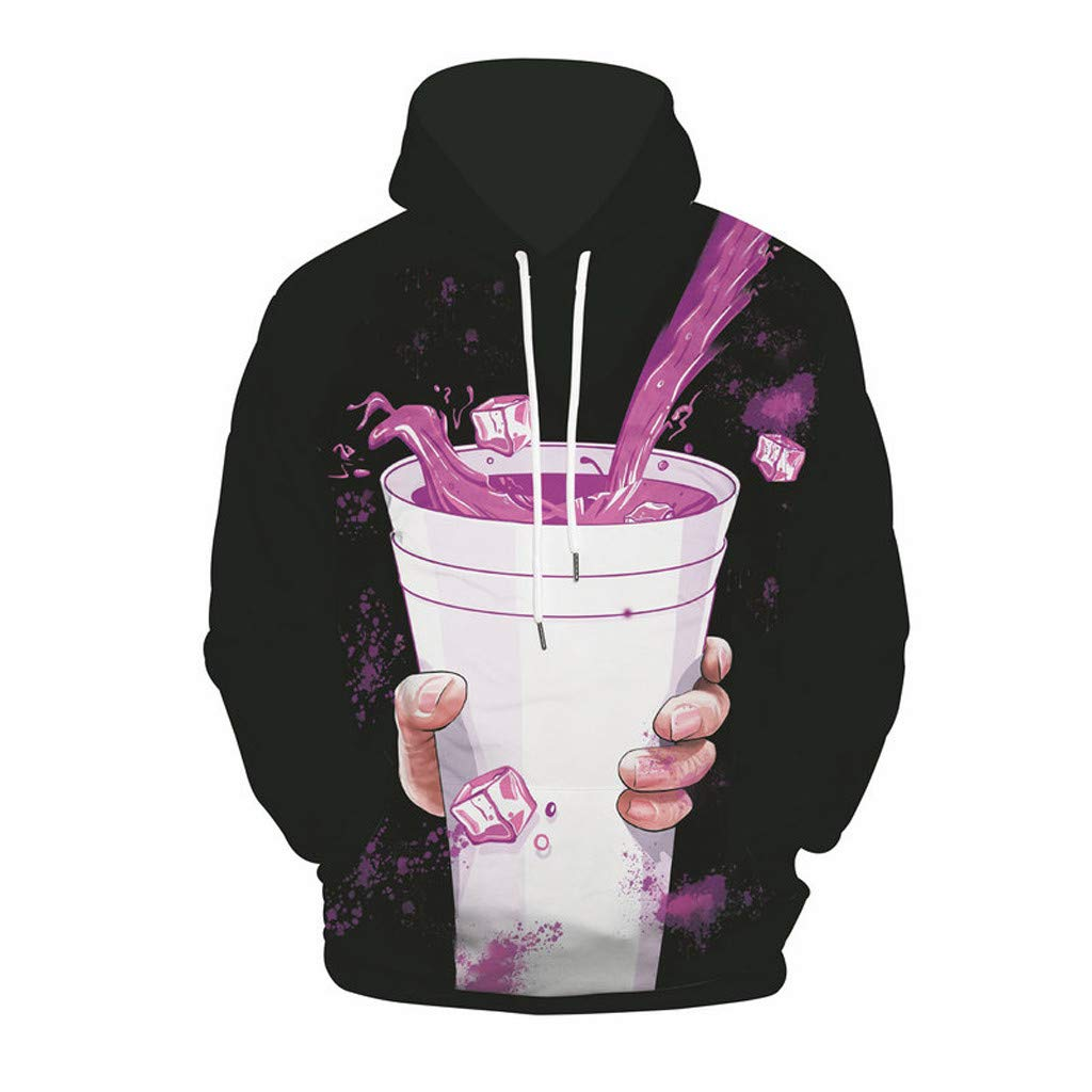 Men's 3D Food Graphic Print Realistic Casual Long Sleeve Hoodie Pullover Sweatshirt Loose Top Sweatshirt Black by baskuwish