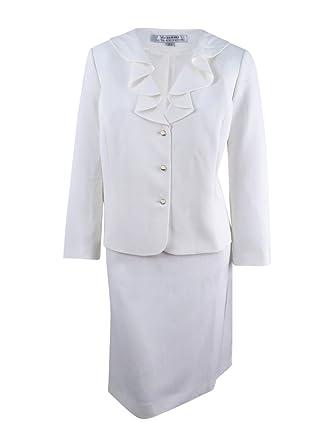 Tahari ASL Women\'s Plus Size Ruffled Skirt Suit (20W, Ivory White)