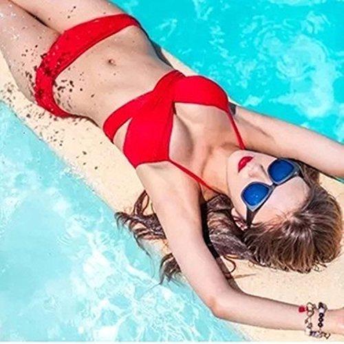 Gyps Femme Bikini Sexy de Bain Bikini à Bretelle Triangle maillot de bain Plage Bikini Confortable Moderne Mode Solide Couleur Maillot De Bain Fille Rassemble Confort Moderne Bikini, Violet Clair, XXL