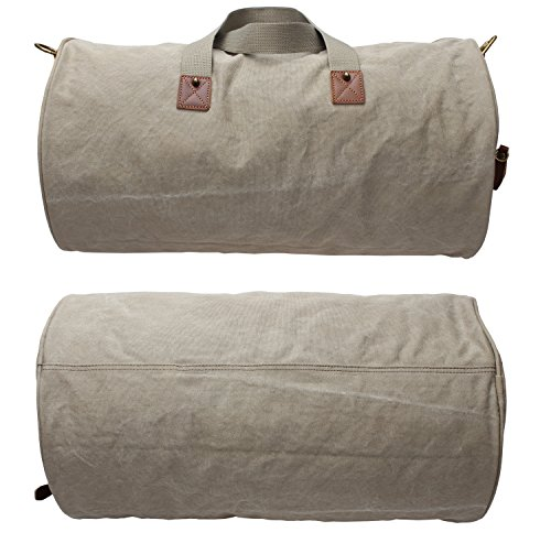Men Canvas Weekender Overnight Bag Travel Duffle Gym Tote A740 (Army Green) by MSG (Image #4)