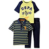 U.S. Polo Assn. Boys' 3 Piece Short Sleeve Striped Polo,...
