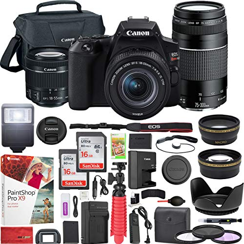 Canon EOS Rebel SL3 DSLR 4K Camera (Black) with EF-S 18-55mm f/3.5-5.6 IS STM and EF 75-300mm f/4-5.6 III Double Zoom Lens Kit and SanDisk Memory Cards 16GB 2 Pack Plus Triple Battery Accessory Bundle