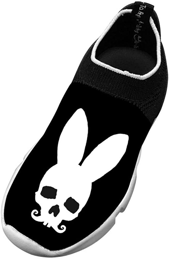 MREIO Rabbit Skull Childrens Lightweight Fly Knit Shoes Leisure Loafers Sneakers Gym Shoes For Boys For Girls