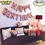 Rose Gold Happy Birthday Balloons Party Decoration Set 36 pcs + Pump Included, 13 Letter Balloon Banner 1 Star and 2 Heart Foil Balloon, 20pcs Latex Balloons, Best Party Supplies