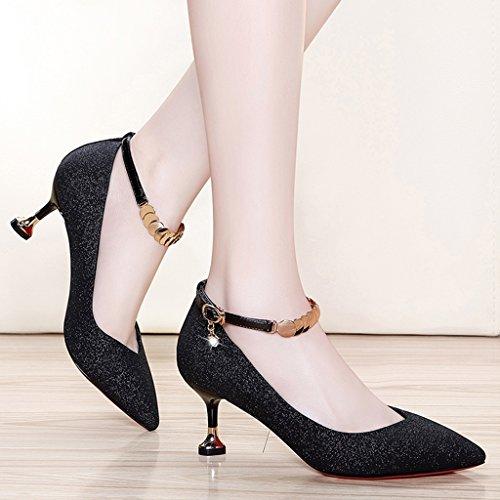 Taille Simples Femme Pointues Femmes Talons Hwf Noires couleur Noir Aiguilles Noir Chaussures 40 vqwFA1Ev