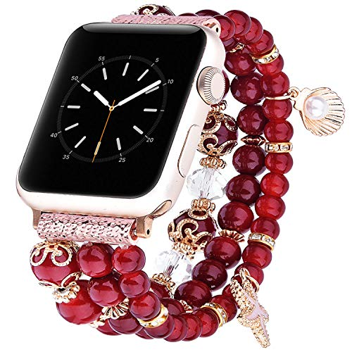 TOROTOP Bracelet Compatible for Apple Watch Band 44mm/42mm Women Girl, Handmade Fashion Elastic Beaded with Rose Gold Stainless Steel Adapters Strap Compatible for iWatch Series 4/3/2/1 42mm 44mm