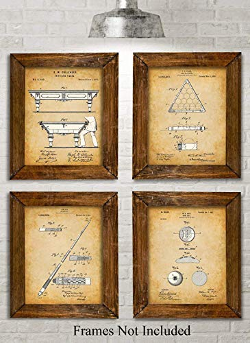 Original Pool Billiards Patent Art Prints - Set of Four Photos (8x10) Unframe - Makes a Great Gift Under $20 for Pool Players, Game Rooms or Man Caves (Game Clocks Scoreboards)