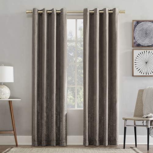 Sun Zero Chanson Brushed Velvet Grommet Curtain Panel, 52 x 95 , Mushroom