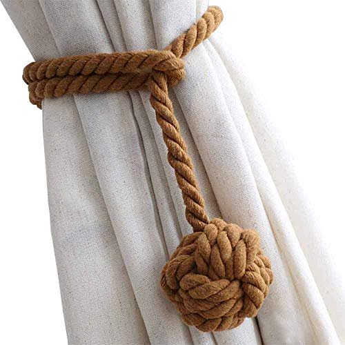 - Melaluxe 4 Pack Curtain Tiebacks - Natural Cotton Curtain Rope Tieback, Handmade Rural Decorative Curtain Holdbacks (Light Coffee)