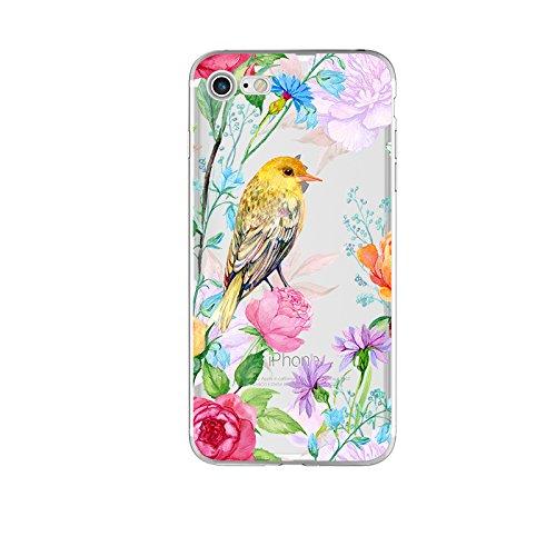 (iPhone 8 Plus Case/iPhone 7 Plus Case(5.5inch),Blingy's Floral Bird Design Transparent Clear Soft TPU Protective Case for iPhone 8 Plus/iPhone 7 Plus (Yellow Bird w/Flowers))