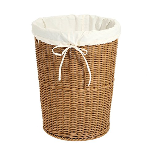 Seville Classics Large Round Wicker Weave Laundry Hamper /w Canvas Liner, Light Brown