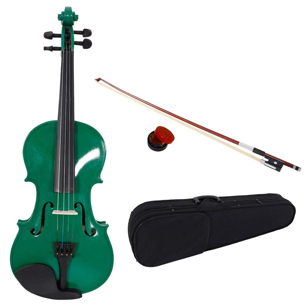 Lovinland 4/4 Acoustic Violin Green Beginner Violin Full Size with Case Bow Rosin