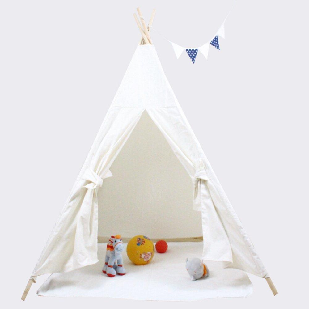 UKadou Kinder spielen Zelt - 6'Classic Style Baumwolle Canvas Indoor TeePee Zelt mit Fenster, Tür und tragen Fall