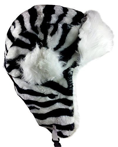 Dakota Dan Winter Trooper, Trapper, or Hunting Hat Faux Fur (Zebra)