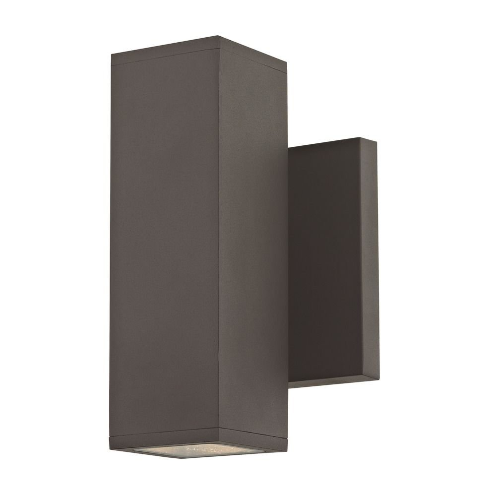 LED Square Cylinder Outdoor Wall Light Up/Down Bronze 3000K