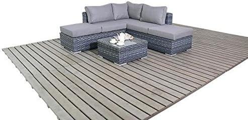 Moderno sofá de Garden rinconera, 2 y 3 plazas, extremo abierto con un doble propósito Gris pequeña mesa de café, reposapiés, cojines de asiento grueso Invernaderos/conjuntos de muebles de jardín, color gris: