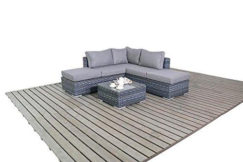 Moderne klein, grau Garden Corner Einheit, 2und 3-Sitzer offenen Ende Garten Sofa mit Ein Dual Zweck Couchtisch Fußhocker, Dicke Sitz-Kissen, Wintergarten/Garten Möbel-Sets, grau