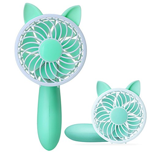 - abcGoodefg Portable Mini Fan Handheld Misting Fan Cute Table Desk Cooling Fan for Home Office Traveling Camping Outdoor Activities (Green)