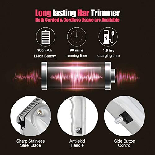 HONGNAL Hair Trimmer Kits for Men Bald-Head, Curving Hair Cutting All Stainless Steel, 5500RPM Powerful Electric Trimmer Set,USB Rechargeable Cordless Hair Clipper 900mAh with Guide Comb,Sharp Blade