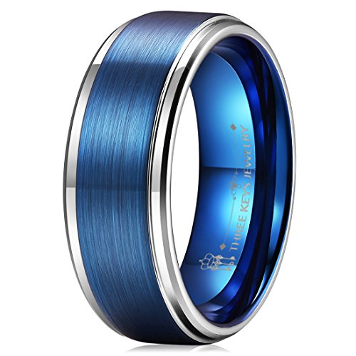 Three Keys 8mm Two Tone Tungsten Wedding Ring for Men Blue Brushed Center Silver Edge Mens Wedding Band Engagement Ring Size 6