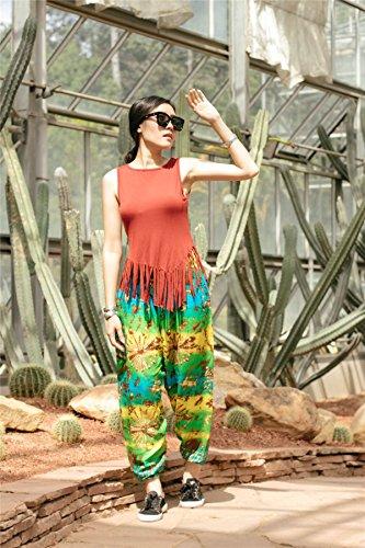Yellow Smocked Waist Pantaloni Donna Tie Dye amp; Green Boho Harem Lofbaz pqnOwPw7