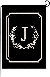 """Titiyogo Garden Flag Monogram Flag Letter J Vertical Double Sided Burlap Flag 12.5"""" x 18"""" Farmhouse Yard Beach Outdoor Decor"""