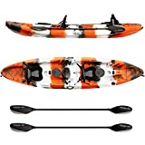 Elkton Outdoors Tandem Fishing Kayak, 12.2 Foot Sit On Top Fishing Kayak with EVA Padded Seats, Includes Aluminum Paddles, Rod Holders and Dry Storage Compartments, Orange