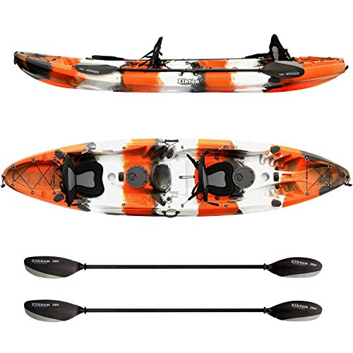 - Elkton Outdoors Tandem Fishing Kayak, 12.2 Foot Sit On Top Fishing Kayak with EVA Padded Seats, Includes Aluminum Paddles, Rod Holders and Dry Storage Compartments, Orange