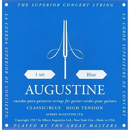 Augustine Classic Blue set, High Tension Classical Guitar Strings from Augustine