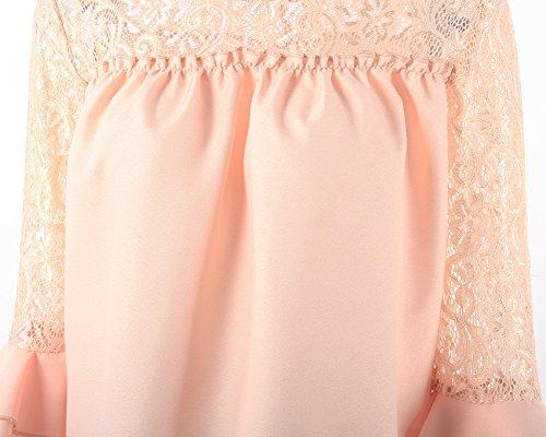 Shirt Maliga Donna Elegante T Giuntura Casual Lunghe Albicocca Ufficio Maniche Pizzo Camicetta wSaadq