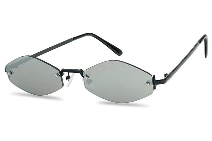 15927b54d54 90 s Small Oval Narrow Rimless Geometric Color Mirrored Sun Glasses (Black  Frame