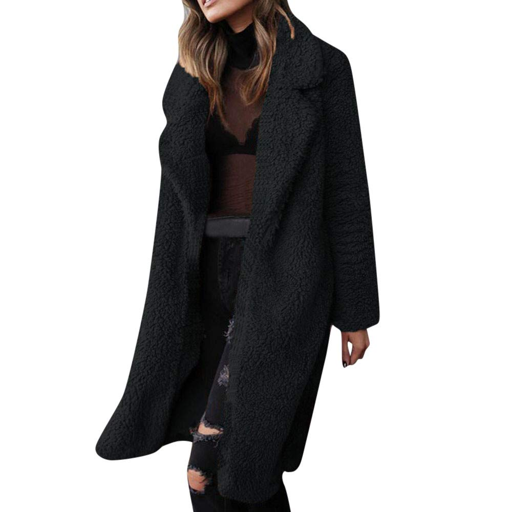 Funnygals - Womens Fluffy Tops Jacket Long Sleeve Open Front Cardigan Faux Fur Fleece Coat Outerwear for Winter Autumn Black by Funnygals - Clothing