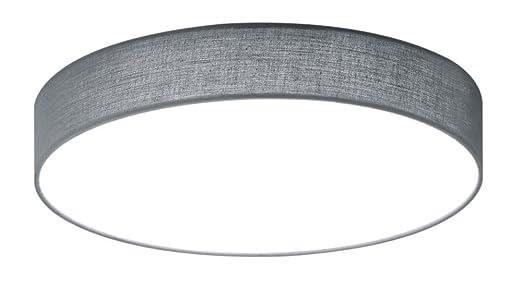 Trio Leuchten 621912411 Lugano A+, LED Deckenleuchte, Nickel, 22 Watts,  Integriert, Stoffschirm Grau, Mit Switch Dimmer,40 X 40 X 10.5 Cm:  Amazon.de: ...