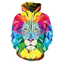 FEOYA Mens Unisex 3D Printed Hoodies Hooded Sweatshirts Graphic Pocket Pullover