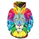 FEOYA Big Boys 3D Hoodies Lion Hoody Digital Print Hooded Sweatshirts Color Block
