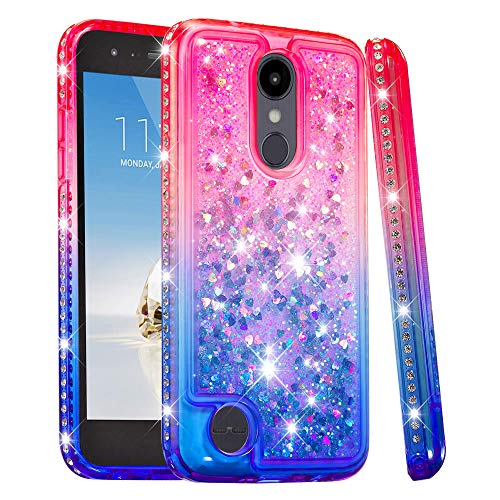 LG Aristo 2 Case, Futanwei [Gradient Colorful+Quicksand+Diamond Bumper] Soft TPU Case Girls Glitter Crystal Design Sparkle Bling Luxury Cover for LG K8 2018/Aristo 2 Plus/Zone 4/k8+ Plus PinkBlue