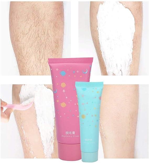 Crema depilatoria con solución reparadora y tabla de raspar, crema depilatoria corporal sin dolor para mujeres, axilas, brazos, piernas, área del bikini: Amazon.es: Belleza