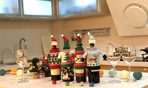 FEFEHOME Christmas Wine Bottle Cover Gift Warping Ugly Sweater (Set of 4) -(F) by FEFEHOME (Image #1)