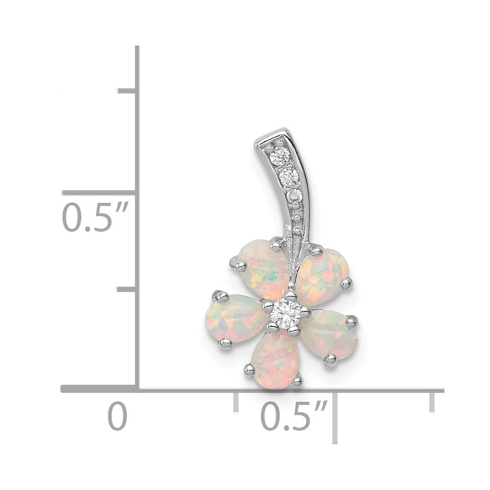 FB Jewels Solid 925 Sterling Silver Rhdoium Plated Opal Flower Pendant
