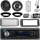Kenwood KDCBT22 CD Receiver Bundle / 2 Kicker 6.5 Speaker + Motorcycle Speaker Adapters + Amplifier + Dash Kit W/Radio Cover + Handle Bar Conrol for 98-2013 Harley Davidson + Enrock Antenna