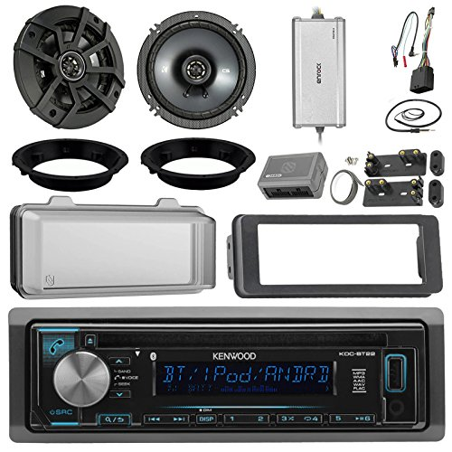 "Kenwood KDCBT22 CD Receiver Bundle/2 Kicker 6.5"" Speaker + Motorcycle Speaker Adapters + Amplifier + Dash Kit W/Radio Cover + Handle Bar Conrol for 98-2013 Harley Davidson + Enrock Antenna"