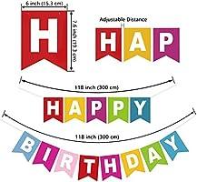 Wenet Banner de Feliz cumpleaños con panales de Papel y decoración de Guirnalda de Arco Iris para artículos de Fiesta de cumpleaños