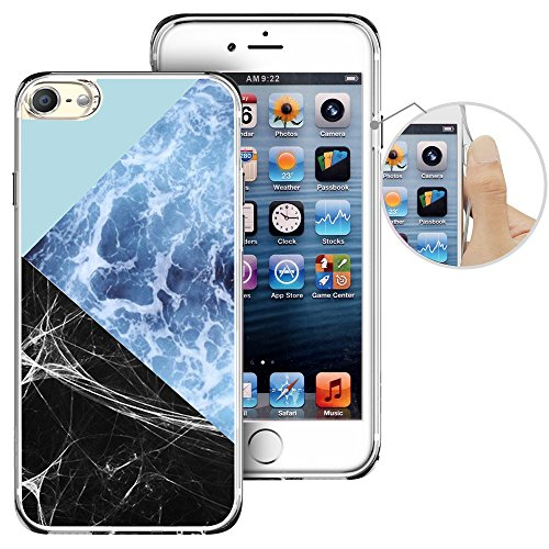 Print Ipod Touch Case - For iPod Touch 6th Case, LAACO Beautiful Clear TPU Case Rubber Silicone Skin Cover for Apple iTouch 6 - Blue marble stitching