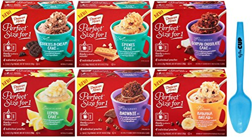 Duncan Hines Perfect Size for 1 Variety Pack - 1 box each of Cookies & Cream, Smores Cake, German Chocolate, Lemon Cake, Brownie, Banana Bread - with Limited Edition By The Cup Spoon by By The Cup