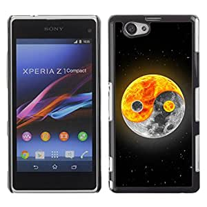 Paccase / SLIM PC / Aliminium Casa Carcasa Funda Case Cover para - Yin yang Moon Sun - Sony Xperia Z1 Compact D5503