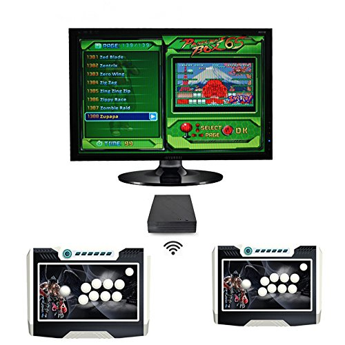 CHONGSUNG wireless double arcade video game consoles in 1 with joystick 1-2 player support 720p vga&hdmi output home playstation retro game ()