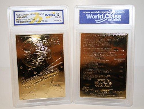 - Star Wars MILLENNIUM FALCON 23KT Gold Card Sculpted #/10,000 Graded GEM MINT 10