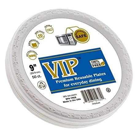 VIP Plates (TM) - 9 Inch Disposable Plastic Plates Microwave Safe Plates Plastic Disposable  sc 1 st  Amazon UK & VIP Plates (TM) - 9 Inch Disposable Plastic Plates Microwave Safe ...