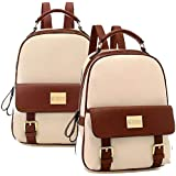 Korean fashion backpack (pu leather fashion schoolbags) - Off white