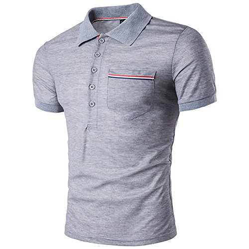 SparrK Mens Fashion Lapel Striped Polo Shirts Short Sleeve T-Shirt Grey M (Online Coupons Polo)